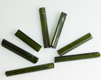 Seven Green Tourmaline Natural Crystals