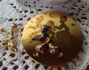 Vintage CastleCliff Brooch Compact 1940 new in Box RARE Rhinestone Encrusted Enamel Genie Harem Signed Excellent Condition WOW Shadow Figure