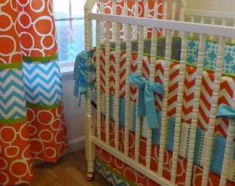 SPRING CLEANING SALE--- Crib Bedding- Made To Order--Baby Bedding-- 3 pc Boy Crib Bedding Set