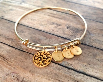 Gold Family Tree Bracelet, Gold Grandma Bracelet, Gold Tree Bangle, Mommy Bracelet Tree Charm