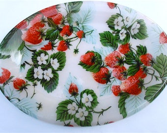 Vintage Strawberry Oval Tray Platter Acrylic Large Red Fruit Serving Dish Berry Plate Appetizer Picnic Theme Party Theme Green Plastic Dine