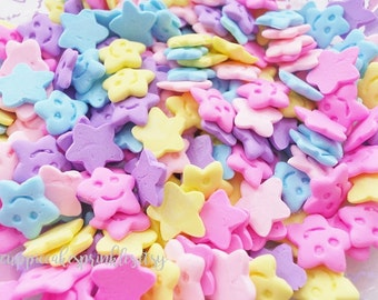 10pcs - Pastel Clay Smiley Face Star Mix Flatback Decoden Cabochon (13mm) STR015