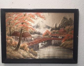 Vintage Japanese Silk 3D Textile ART Picture Framed Mt Fuji