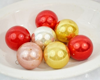 Multi Colored Vintage Christmas Tree Ornaments Glass Mixed Lot of 7 Silver Pink Gold Red Decor Japan 1950's