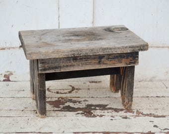 Small Vintage Weathered Wood Step Stool Gray Black Chippy Shabby Handmade Foot Stool Primitive Rustic Farmhouse Stacking Display Riser