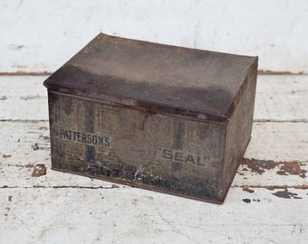 Vintage Patterson's Seal Cut Plug Tobacco Tin Box Hinged Lid Rusty Aged Patina Tobacciana Advertising Collectible