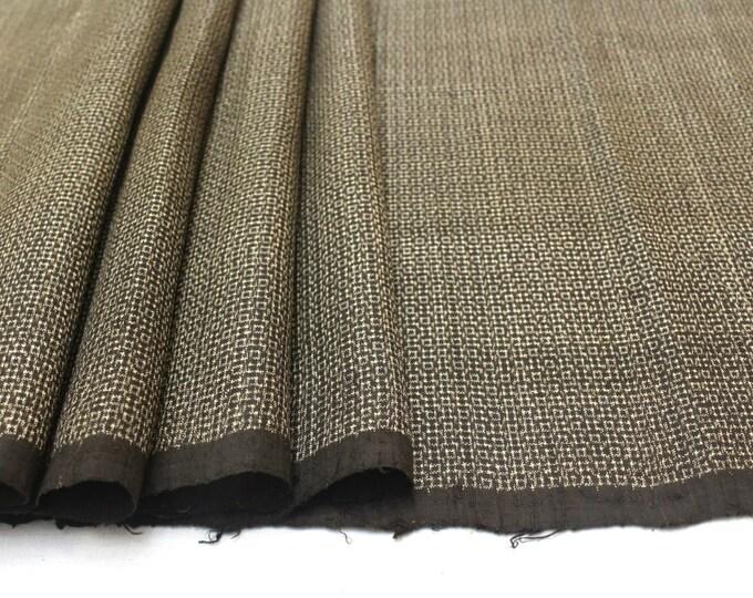 Antique Ooshima Tsumugi Ikat Silk. Japanese Vintage Artisan Fabric. Hand Loomed Textile. Botanical Dye. Brown. (Ref: 1565)