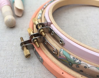 Embroidery Hoop Set. Pretty Embroidery Frames. Liberty London, 'Land Dreams' Garden of Dreams Collection, Tana Lawn fabric.