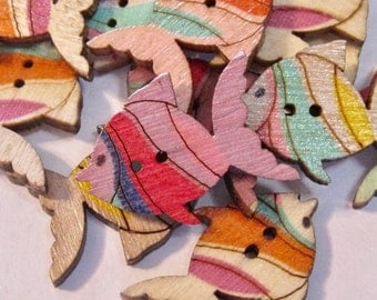 Fish Wood Buttons Lot of 10