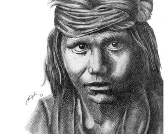 Apache Boy - 11 x 14 Matted Print