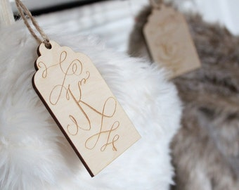 Engraved Stocking Tag Farmhouse Christmas Stockings