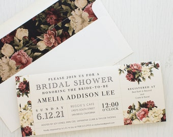 "Burgundy Floral Bridal Shower Invitations, Boho Shower Card with Matching Envelope Liner, Unique Bridal Shower, 3.00/each - ""Modern Boho"""