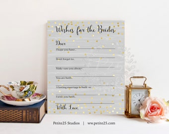 Gray Wishes for the Brides, Wedding shower game, bridal shower game, Same Sex Wedding, Same Sex Marriage, LGBT, Gold, INSTANT DOWNLOAD