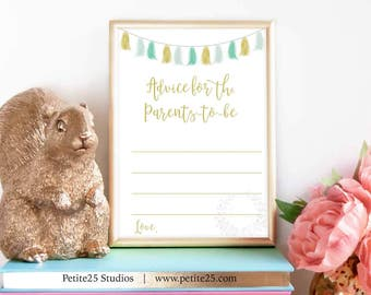 Advice for Parents-to-be, green gold tassels, green baby shower, baby shower game, green banner, Instant Download, printable game