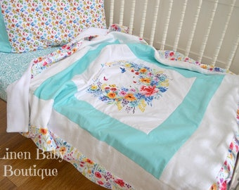 Toddler or Baby Bedding, Crib Bedding. 3 Pieces. Fitted Sheet,Toddler Crib Quilt Blanket and Pillowcase. Ready to Ship!