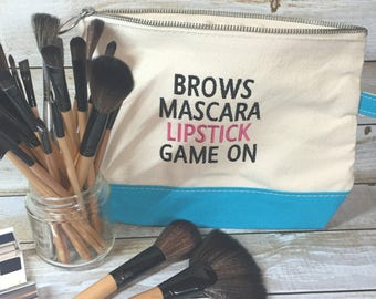 Canvas Cosmetic Bag - Brows Mascara Lipstick Game On 7″ H x 11″ W x 3″ D