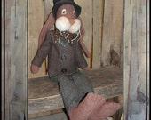 Tall Primitive brown wool rag doll Spring Easter rabbit suit tie hat HAFAIR OFG faap[