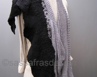 Artistic hand felted triangle scarf,  stunning black and grey wrap, bohemian women's fashion accessories, outstanding handmade artwear