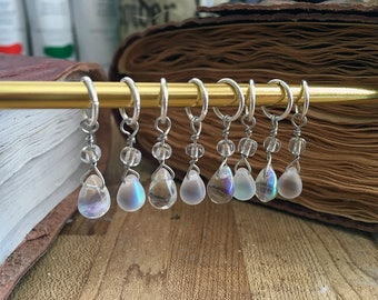Handmade Stitch Markers for Knitting Beaded Gift for Knitters Set of 8 Teardrops