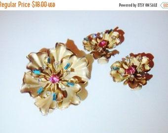 Vintage Brooch and Earring Set Bridal Sash Wedding Jewelry Spring Summer Gift for Her Aqua Pink Rhinestones