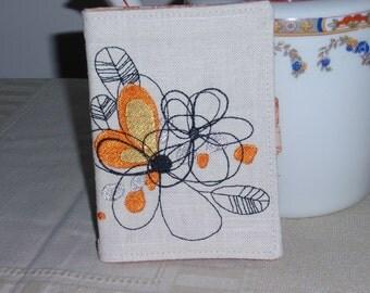 Linen Tea Wallet Modern Floral Embroidery