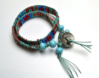 Double Wrap Loom Woven Beaded Bracelet Southwestern Colors