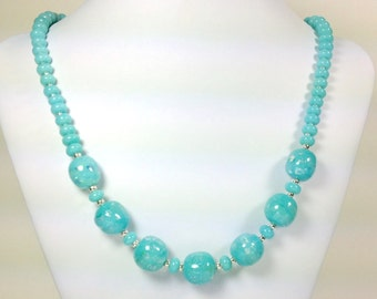 Lampworked turquoise glass and rainbow dichroic bead necklace