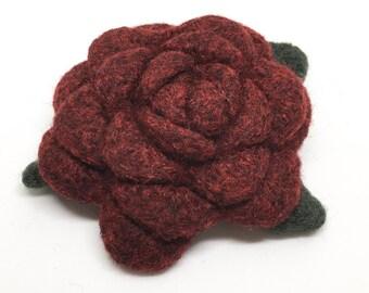 Felted Wool Rose Flower Brooch in Garnet Red with dark green leaves