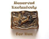 RESERVED for KEN Vintage BTS Small Brass Deer Belt Buckle Jumping Buck Forest Scene Cast Yellow Brass Wavy Rectangular Slab Buckle 1980