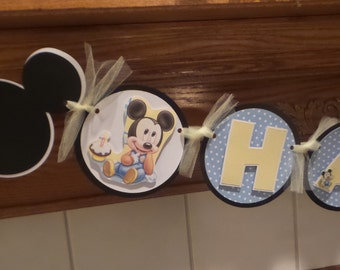 Mickey Mouse 1st Birthday Banner, Boy 1st Mickey Banner,  Happy Birthday Banner Matching Tissue Pom Poms Available
