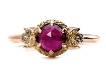 Ruby Moon Phase Engagement Ring - Diamonds and Crescent Moons - Pink Gold
