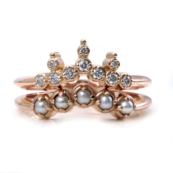 Drippin Diamond: Modern Victorian Seed Pearl And Dripping Diamonds Engagement