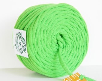 Lime Green 38 Yards Recycled T-Shirt Yarn, T Shirt Yarn, Bulky