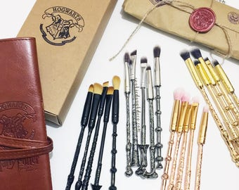 FREE SHIPPING - Harry Potter Hogwarts inspired wand Makeup Brushes Brush Set (Brush Roll Option)