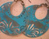 15%off AFRICAN HOOP EARRINGS turquoise large stunning hoop earrings