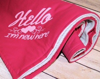 Hello I'm New Here - Double-Sided Pink Fleece Baby Blanket MTCoffinz - Ready to Ship