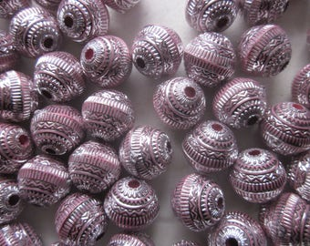 Pink and Silver Acrylic Beads 11mm 20 Beads
