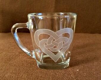 Celtic Love Knot Coffee Mug/Hand Etched