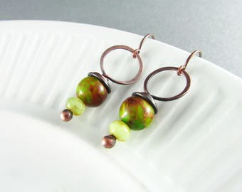 Wire Wrapped Earrings Green Jasper Earrings Copper Earrings Wire Wrapped Jewelry Copper Wire Wrap Boho Earrings
