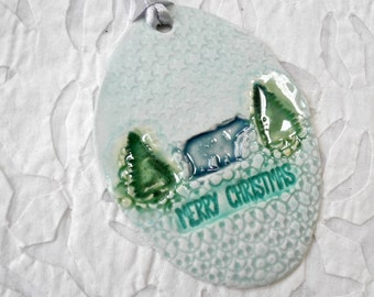 Polar Bear Ornament, Christmas Tree Ornament, Wildlife ceramic ornament, hostess gift, stocking stuffer, tree decoration, Polar Bear Decor