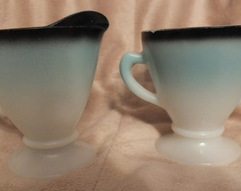 Hazel Atlas Ovide Aqua Blue and Black Sugar Bowl and Creamer Set