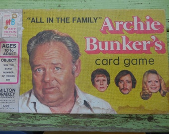 Vintage 1970s Milton Bradley Tandem Productions Archie Bunker's Card Game 1972 Retro TV Show Comedy All in the Family