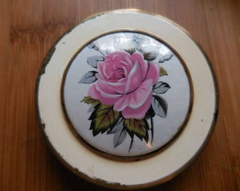 Vintage 1950s to 1960s English Powder Compact Enamel Top Pink Rose Round Flower Mirror Retro Collectible