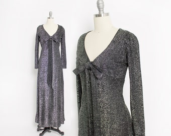 Vintage 60s Dress - Silver Lame Full Length Maxi Disco Party Dress 1960s - Small