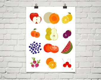 Farmers Market 18x24 Art Poster Giclee Graphic Fruit Kitchen Food Healthy Lisa Weedn