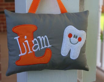 Keepsake Children's Tooth Fairy Pillow Personalized with Tooth chart - Tooth Fairy - Gray and Orange - Monogram - Child Gift - Birthday