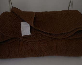 "Matelasse Bed Coverlet Dark Chocolate Brown Scallop Edges 92"" X 84"""