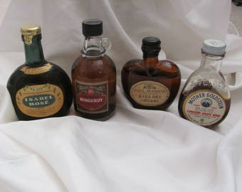 Lot of 4 Vintage Miniature Colored Liquor Wine Bottles Assorted (#06)