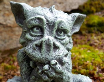Dragon Statue, Garden Decor, Giggling Dragon Concrete Garden Statue,  Naughty Dragon, Funny