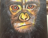Portrait of monkey. Acrylic paint on stretched canvas.Size 8X10 inches. Ready to ship.